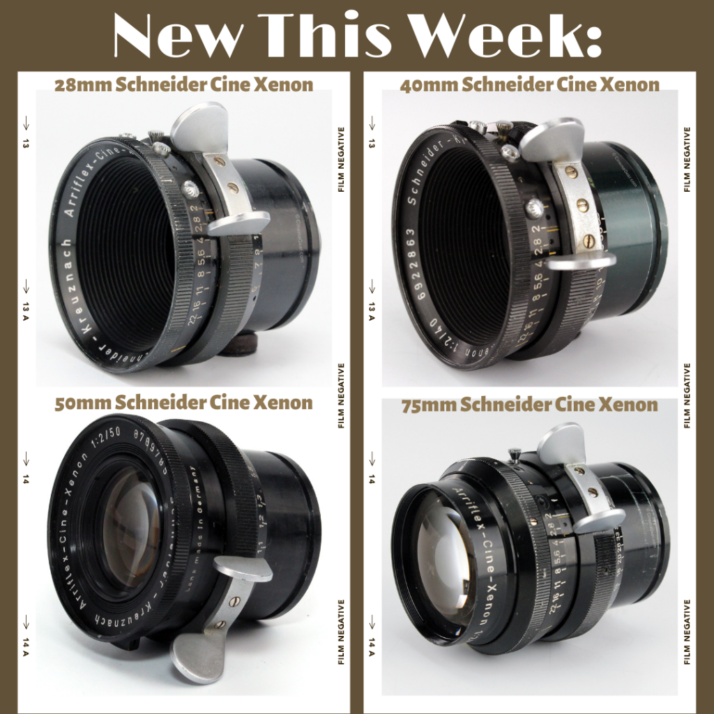 Schneider Cine Xenon motion picture camera lenses in Arriflex Standard mount